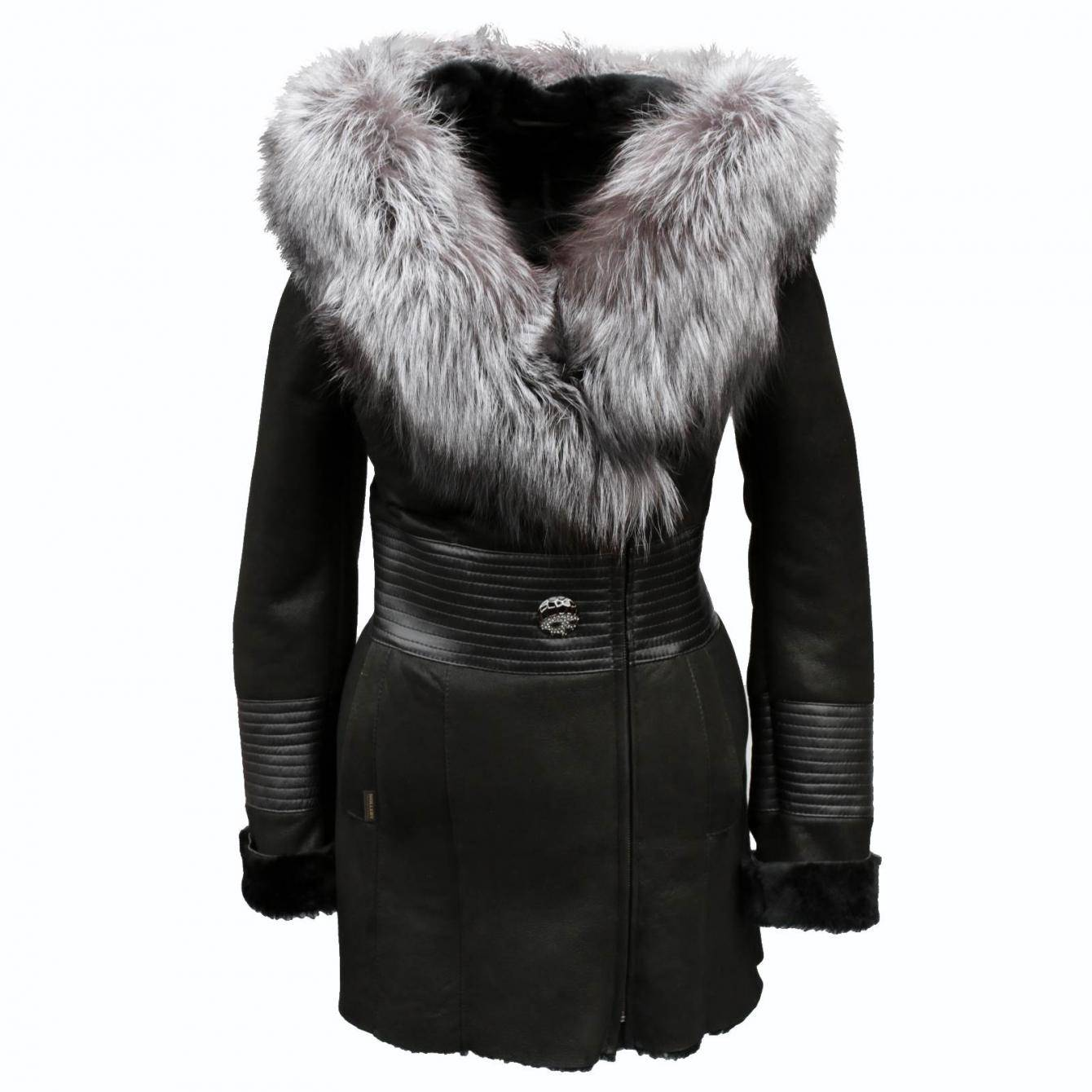 veste de peau mouton serinda court femmes en cuir avec fourrure d 39 hiver renard ebay. Black Bedroom Furniture Sets. Home Design Ideas