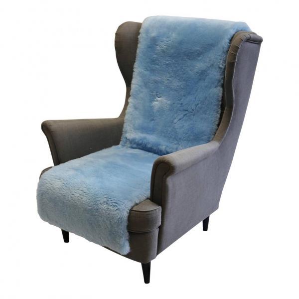 Sesselauflage aus Merino Lammfell 160 x 50 cm Himmelblau