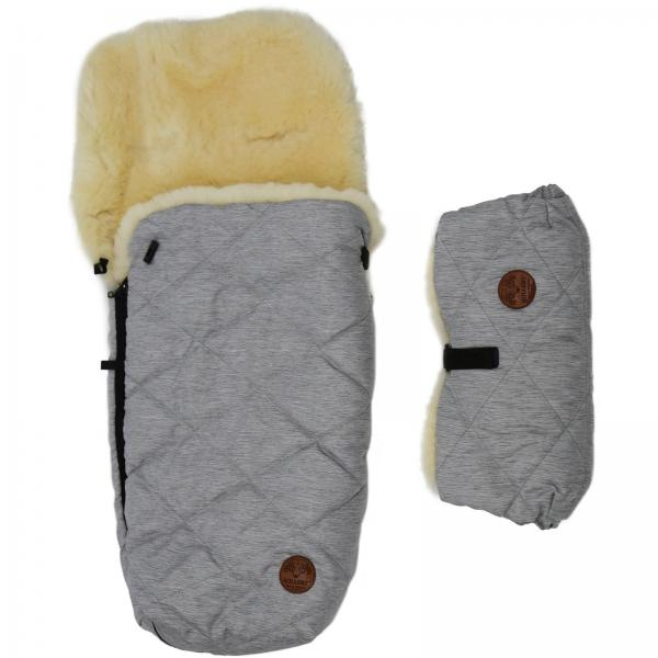 Set of a sleeping bag for a trolley and a hand warmer made of lamb's wool Grey