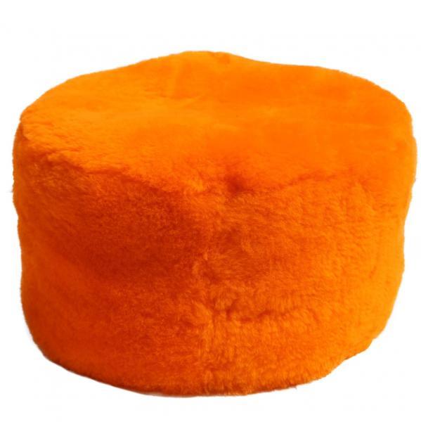 Pufa ze skóry jagnięcej / Stołek Pomarańcz