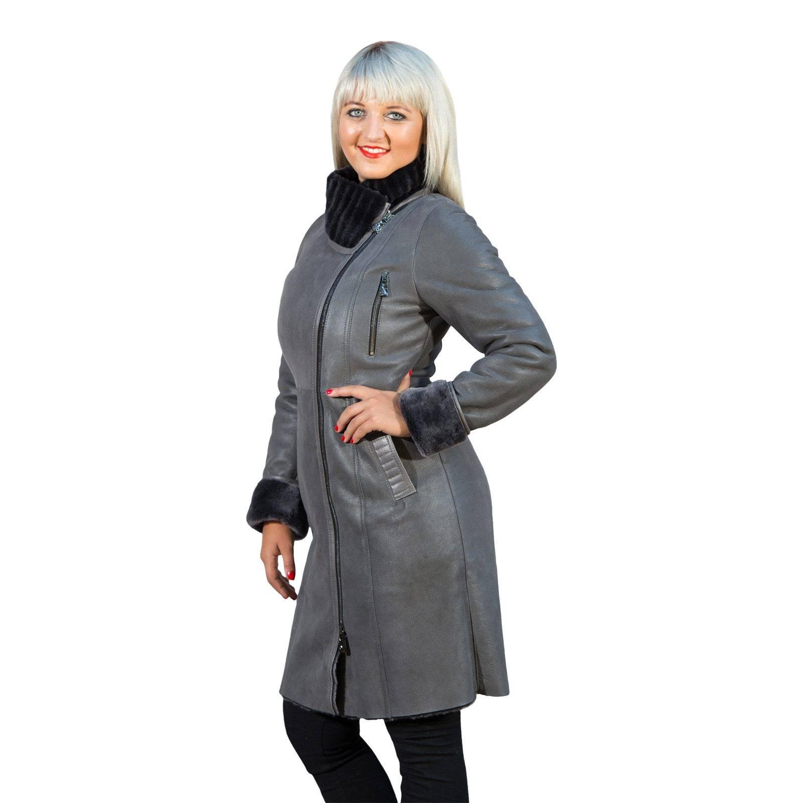 lammfellmantel ida damen mantel grau merino veloursleder ebay. Black Bedroom Furniture Sets. Home Design Ideas