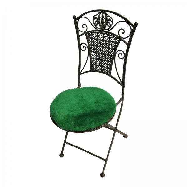 Lammfell Sitzkissen Apfelgrün Ø 40 cm