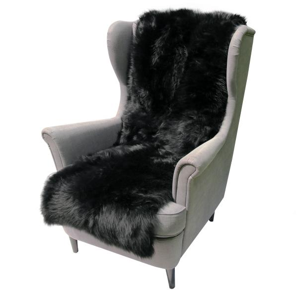Lammfell Sesselauflage 160 x 50 cm Schwarz
