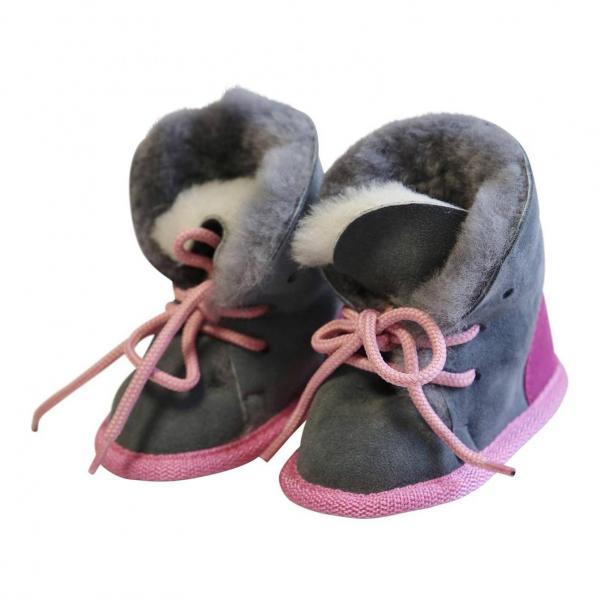 Buty niemowlęce ze skóry jagnięcej Miś Różowe/Szare