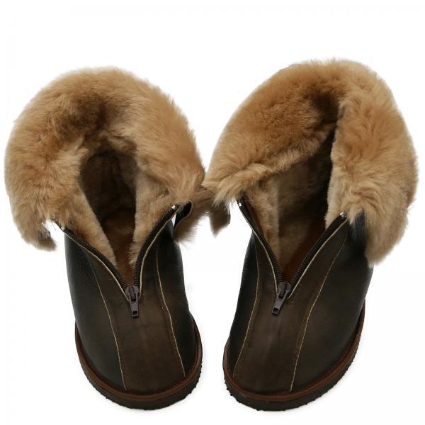 Sheepskin Slippers - ALASKA DARK BROWN
