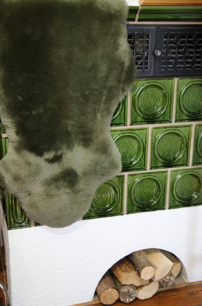 Lammfell Olivgrün - 2. Wahl