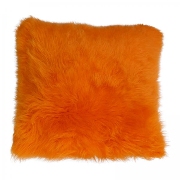 Lammfellkissen MERINO LANGE WOLLE ORANGE