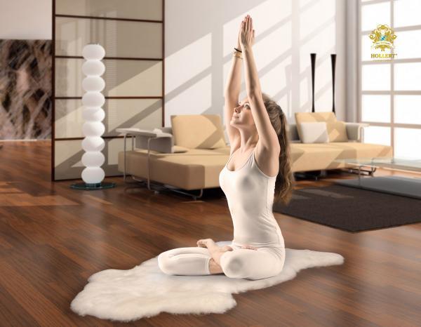 Yoga Schaffell Weiß Wollhöhe 3-4 cm versch. Größen