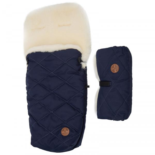 Set of a sleeping bag for a trolley and a hand warmer made of lamb's wool Blue