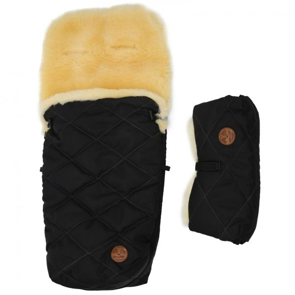 Set of a sleeping bag for a trolley and a hand warmer made of lamb's wool Black