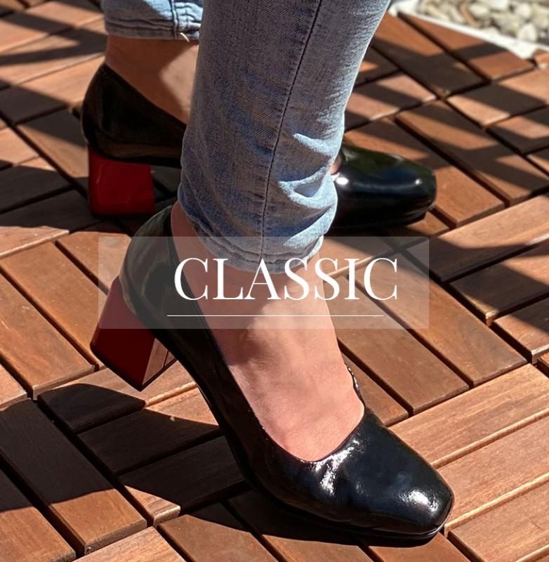 Klasyczne skórzane buty damskie