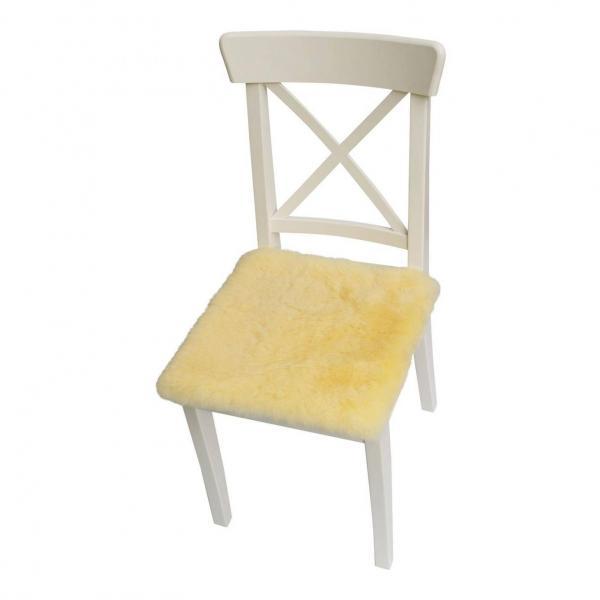 Poduszka do siedzenia ze skóry jagnięcej 40 x 40 cm Żółta