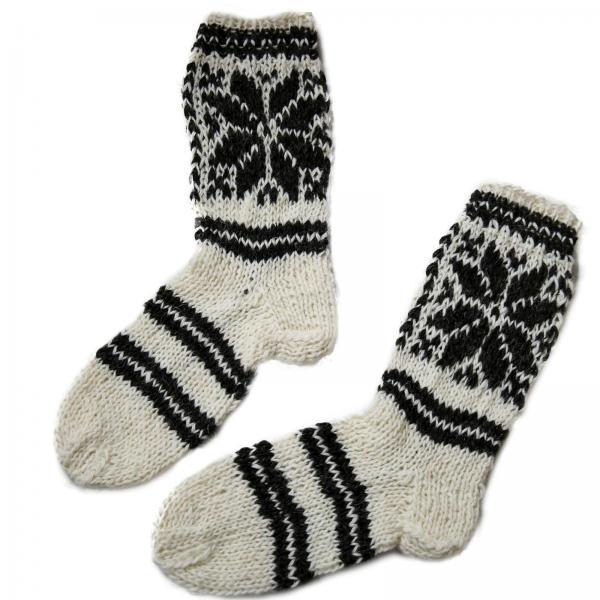 Handgestrickte Socken aus 100% Schafwolle 1 Stern Modell 1