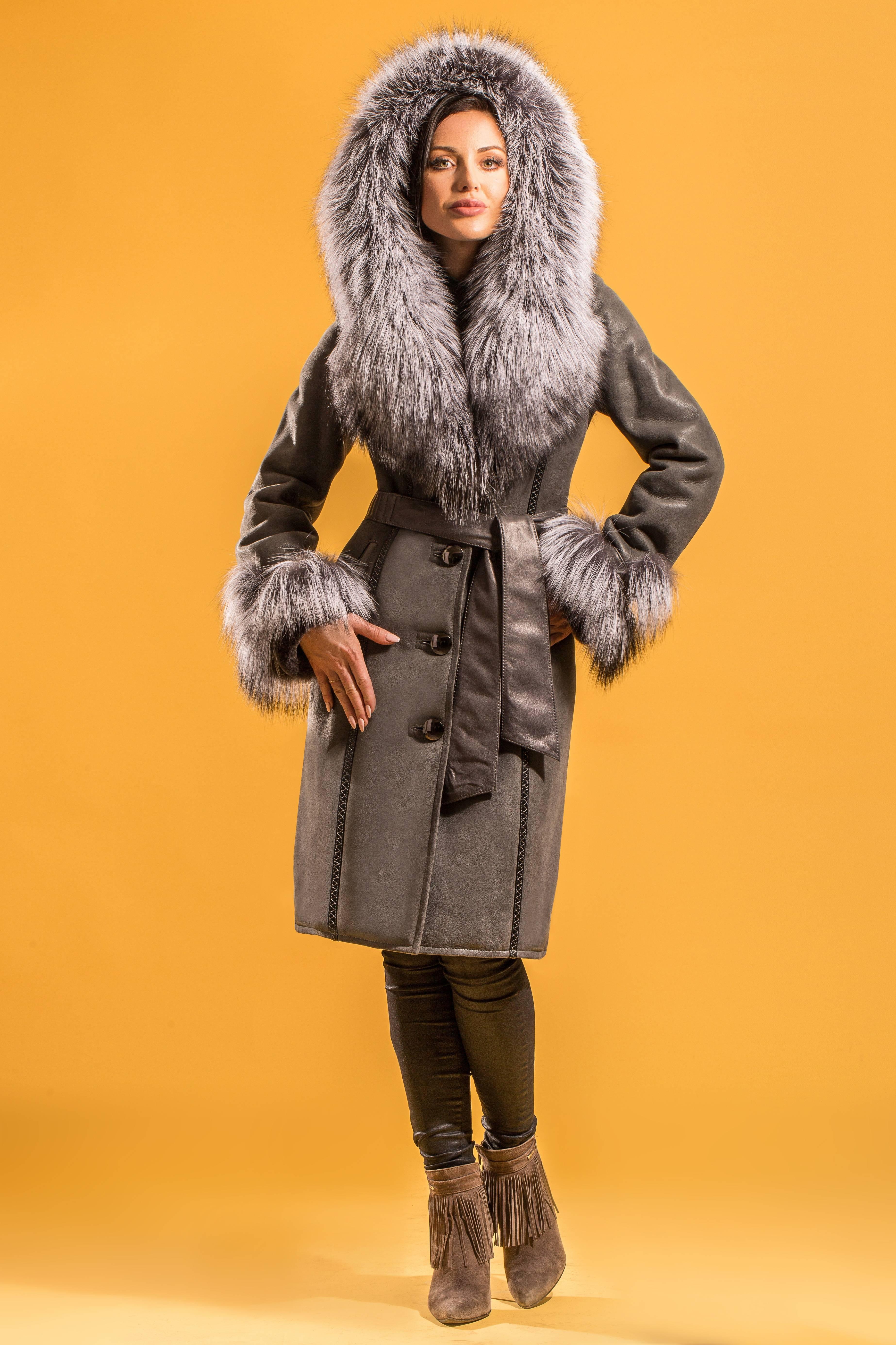 lammfellmantel melanie damen fellmantel ledermantel wintermantel mit kapuze ebay. Black Bedroom Furniture Sets. Home Design Ideas