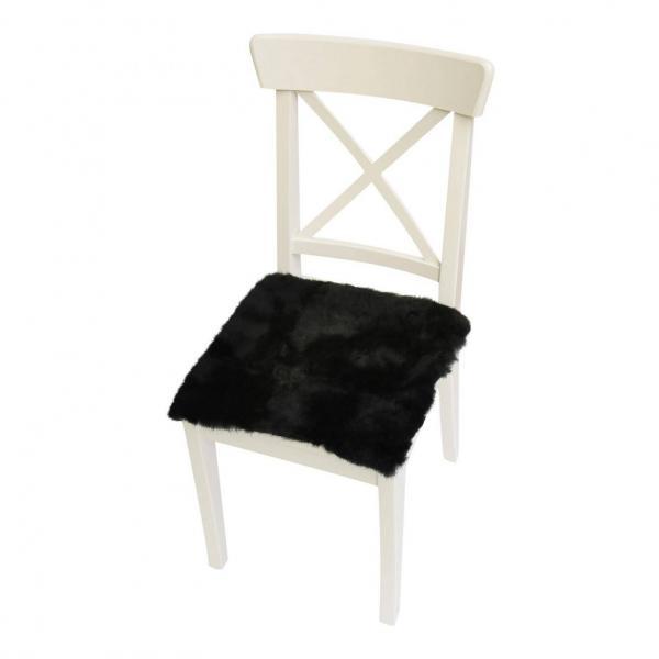 Lammfell Sitzkissen 40 x 40 cm Schwarz