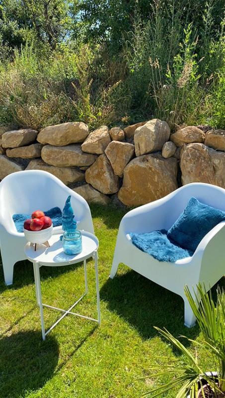 Lammfell Blau Garten