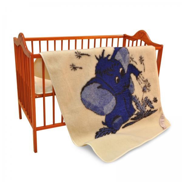 Wolldecke Merino Elefant Blau