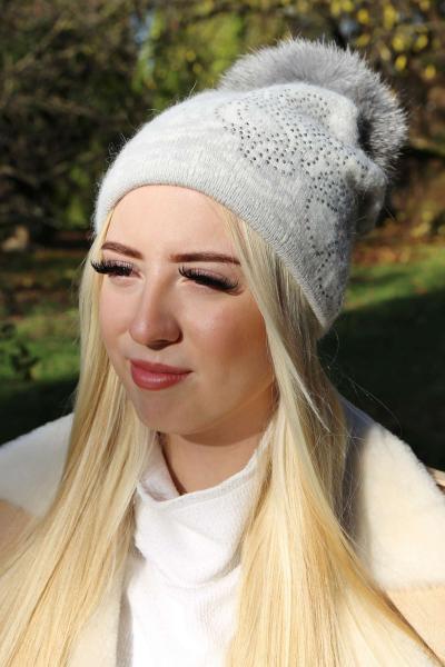 Angora Wintermütze mit Fell-Bommel Twinkel