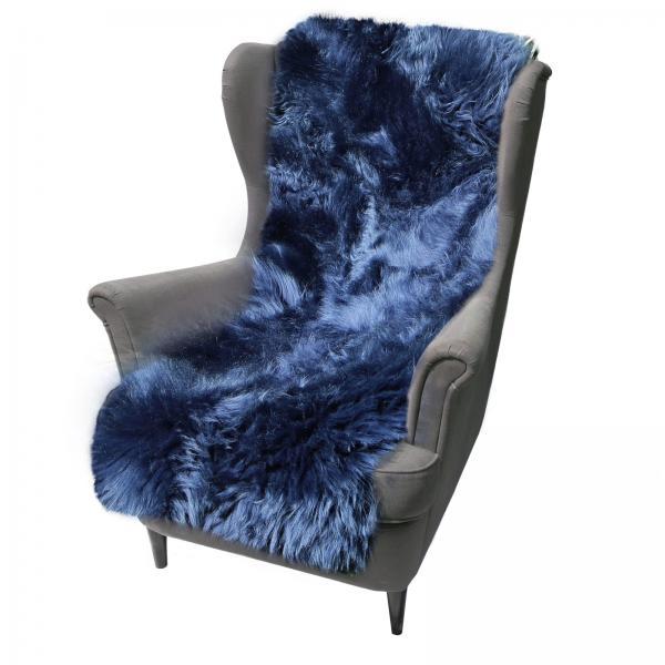 Lammfell Sesselauflage 160 x 50 cm Marineblau