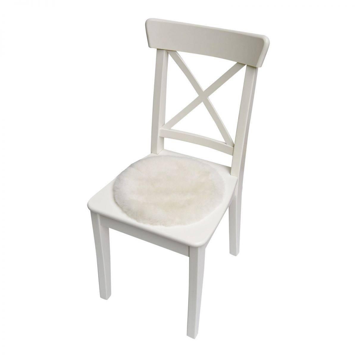 lammfell sitzkissen stuhlauflage rund 35 cm wei. Black Bedroom Furniture Sets. Home Design Ideas