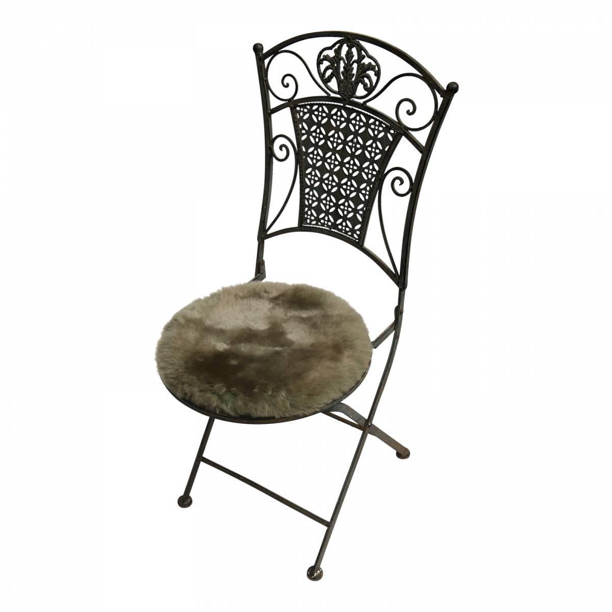 lammfell sitzkissen stuhlauflage rund 40 cm olivgr n ebay. Black Bedroom Furniture Sets. Home Design Ideas