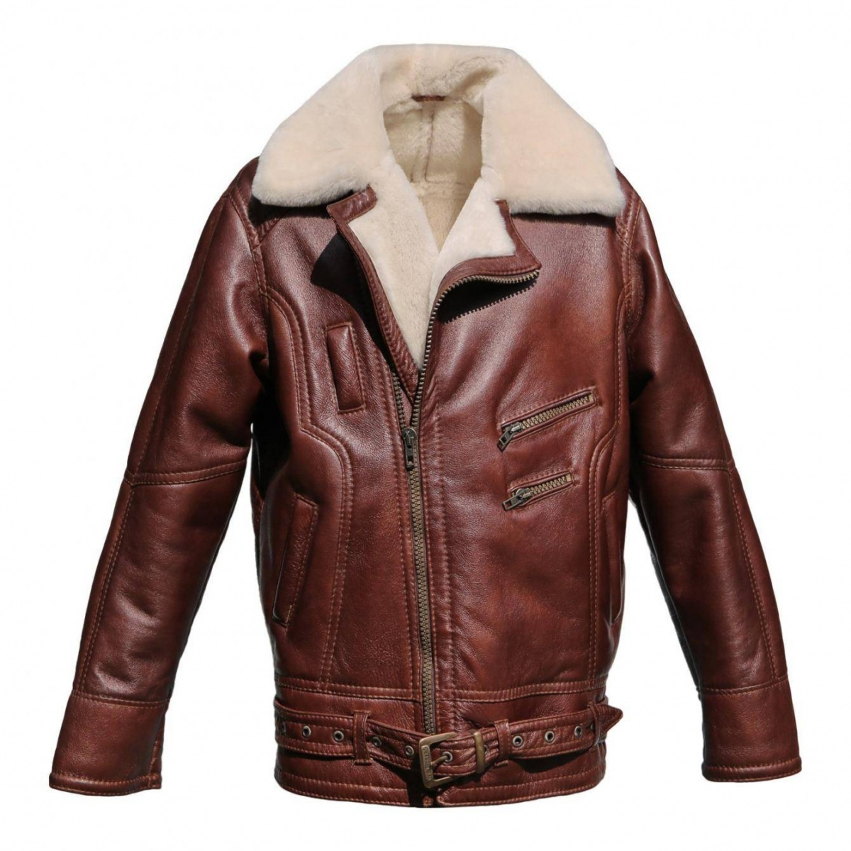 Leather sheepskin bomber jacket