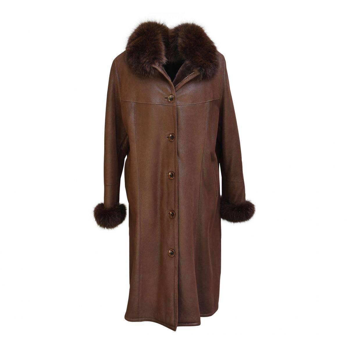 lammfellmantel fiona damen mantel mit fuchs braun ebay. Black Bedroom Furniture Sets. Home Design Ideas