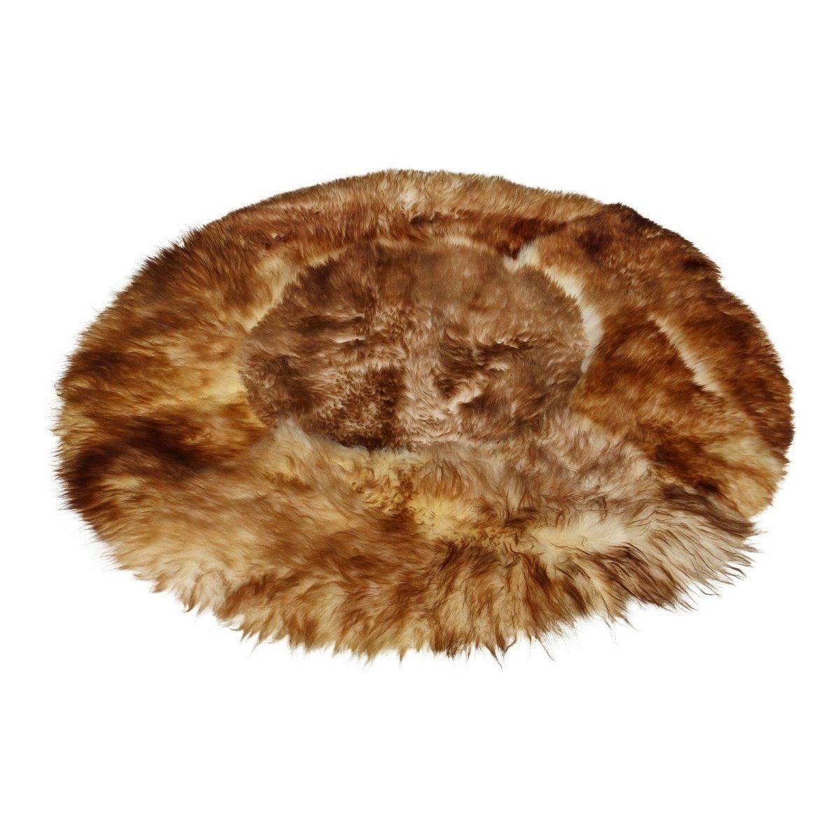 lammfellteppich 82 16 fell teppich 130 cm natur wei geflammte spitzen rund ebay. Black Bedroom Furniture Sets. Home Design Ideas